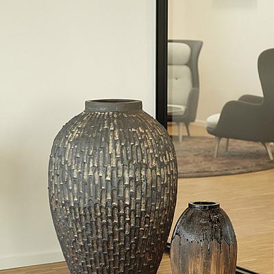 Træbrændte stentøjskrukker Ø33 x H55 og Ø68 x H101 cm
