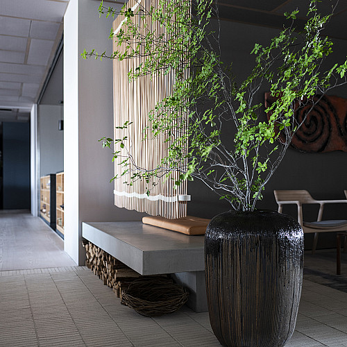 Træbrændt stentøjskrukke Ø46 x H64 cm