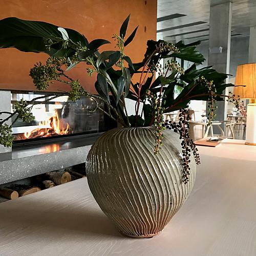 Træbrændt Unika Vase H ca. 20 cm
